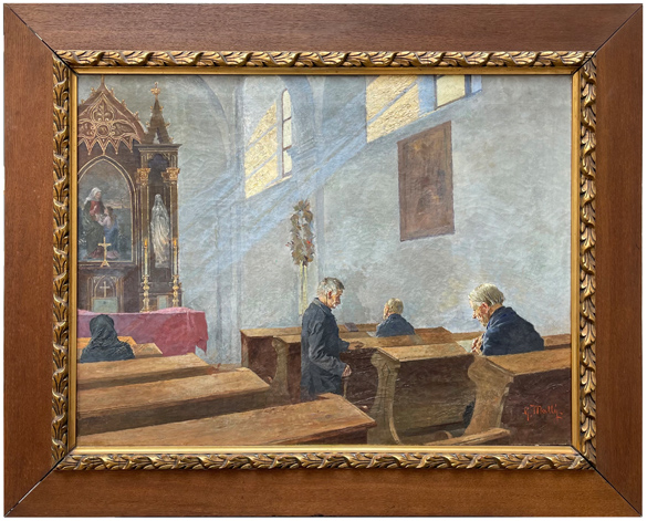Mallý Gustav, V kostele