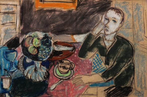 Autoportrét se zátiším na stole