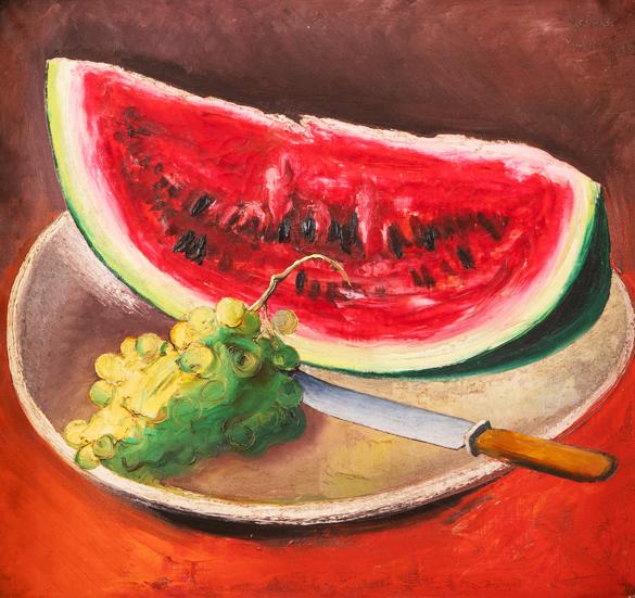Zátiší s hroznovým vínem a melounem