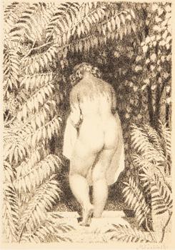 Žena sestupující do bazénu