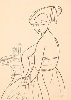 Žena u kavárenského stolku