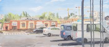 Město - obraz malovaný levou rukou